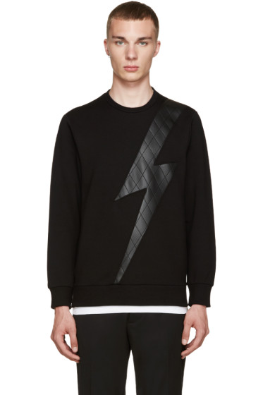 Neil Barrett - Black Quilted Thunderbolt Pullover