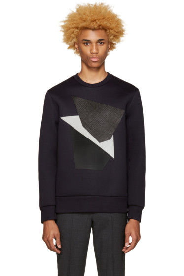 Neil Barrett - Navy Modernist Blocking Pullover