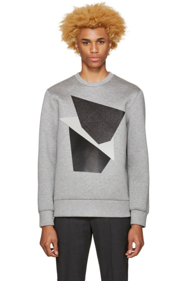 Neil Barrett - Grey Modernist Blocking Pullover