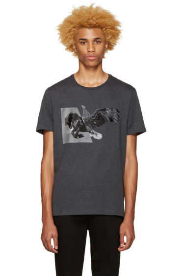 Neil Barrett - Grey Horse Eagle Hybrid T-Shirt