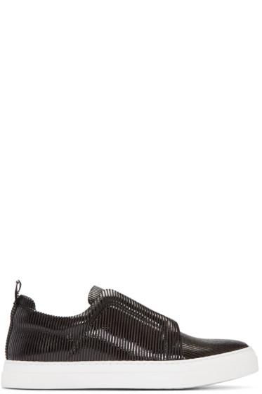 Pierre Hardy - Black Textured Slip-On Sneakers