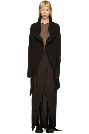 Ann Demeulemeester - Black Double-Face Cardigan