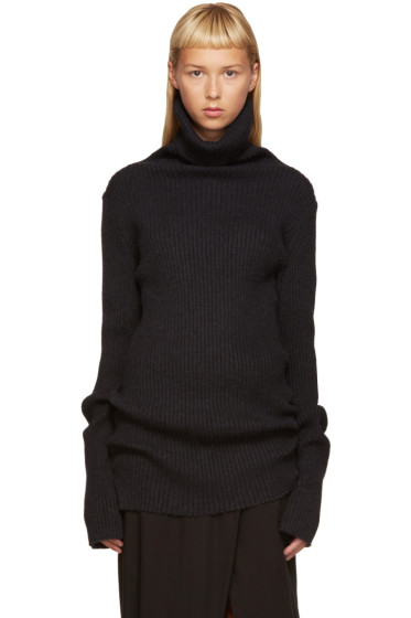 Ann Demeulemeester - Black Ribbed Sono Turtleneck