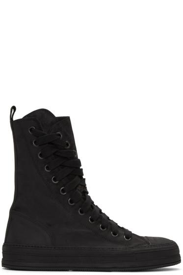 Ann Demeulemeester - Black Nubuck High-Top Sneakers