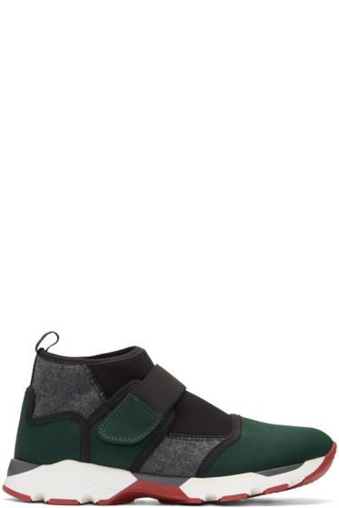 Marni - Green Neoprene High-Top Sneakers