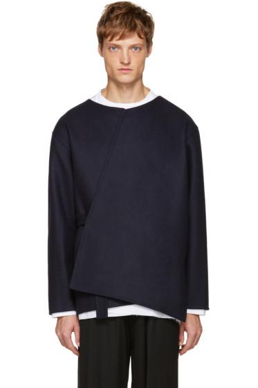 Marni - Navy Wool Crossover Coat