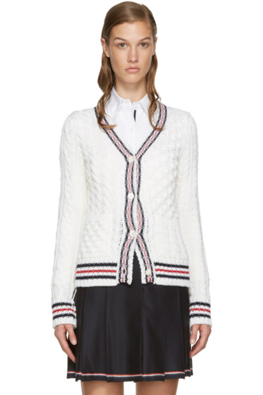 Thom Browne - Off-White Cable Knit Cardigan