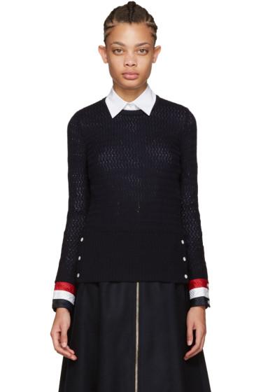 Thom Browne - Navy Wool Sweater