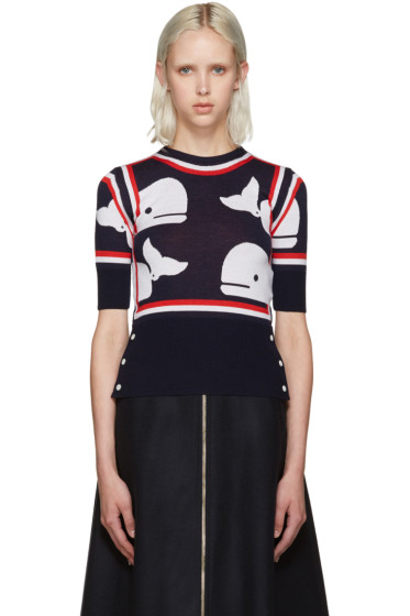 Thom Browne - Navy Whale Print Sweater