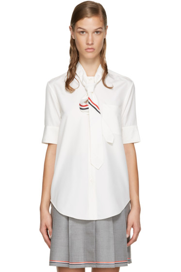 Thom Browne - Ivory Neck Tie Shirt