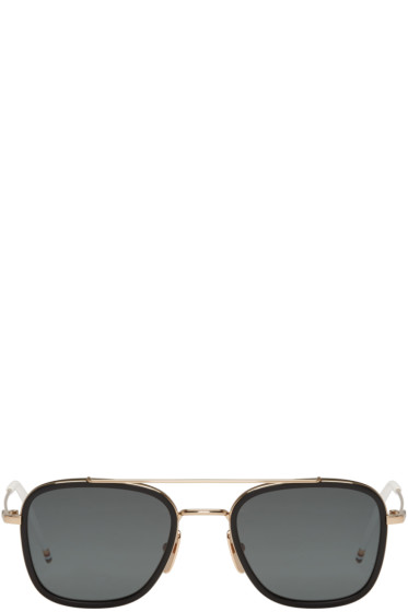 Thom Browne - Black Gold-Plated TB-800 Aviator Sunglasses