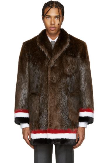 Thom Browne - Brown & Tricolor Fur Coat