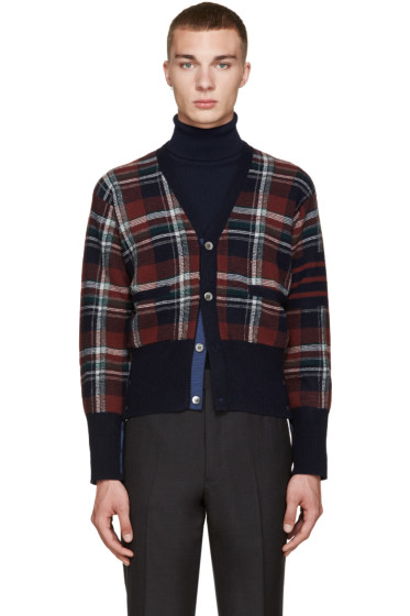 Thom Browne - Navy Wool Plaid Cardigan