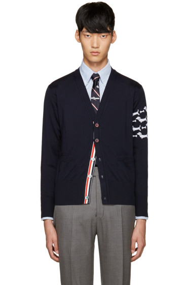 Thom Browne - Navy Hector Arm Band Cardigan