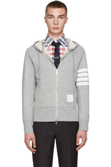 Thom Browne - Grey Zip-Up Hoodie
