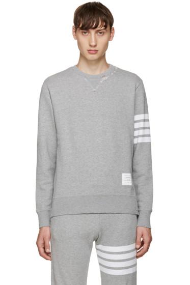 Thom Browne - Grey 4 Bars Pullover