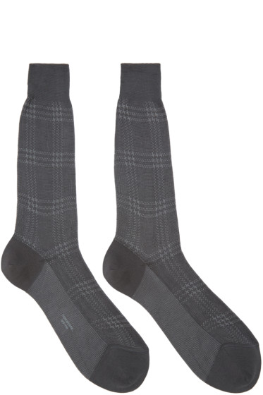 Thom Browne - Grey Plaid Socks