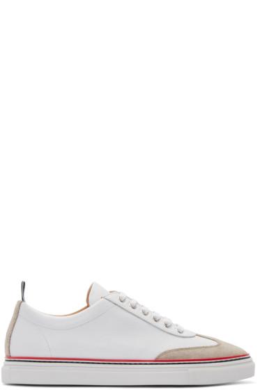 Thom Browne - White Toe Cap Sneakers