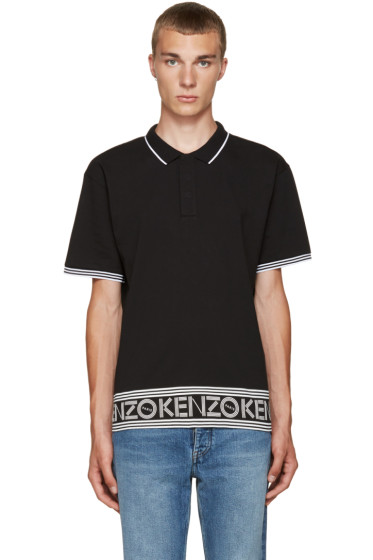 Kenzo - Black Logo & Stripes Polo