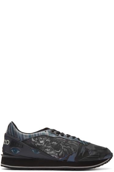 Kenzo - Blue Multi Print Sneakers