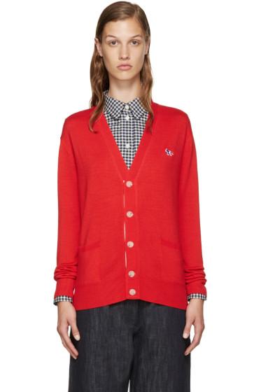 Maison Kitsuné - Red Wool Logo Cardigan