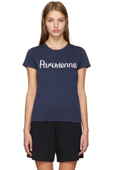 Maison Kitsuné - Navy 'Parisienne' T-Shirt