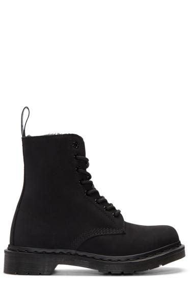 Dr. Martens - Black Fur-Lined 1460 Mono Pascal Boots