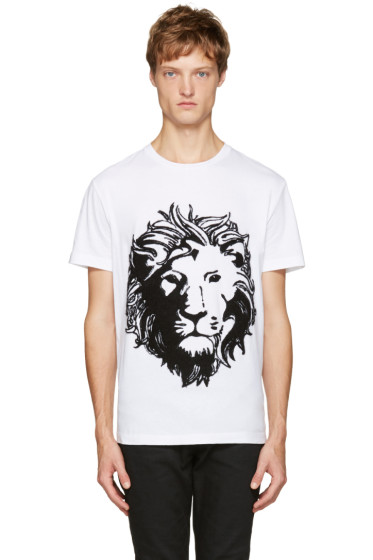 Versus - White Embroidered Lion T-Shirt