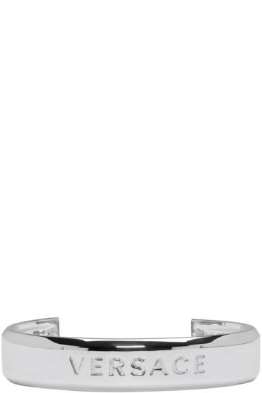 Versace - Silver Branded Cuff Bracelet