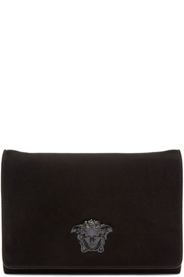 Versace - Black Suede Medusa Clutch