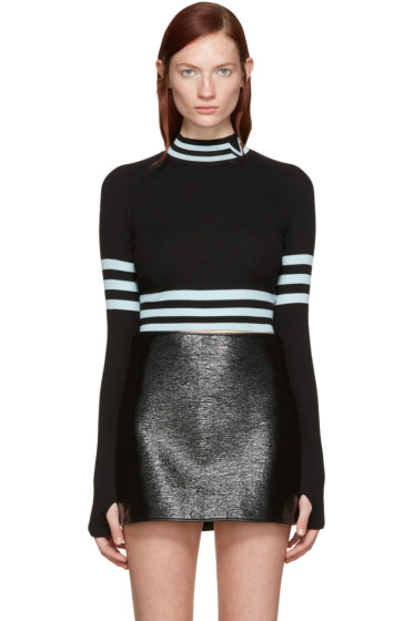 Versace - Black & Blue Cropped Striped Sweater