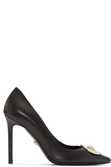 Versace - Black Leather Medallion Heels