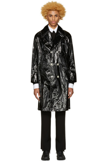 Undercover - Black Glossy Logo Trench Coat