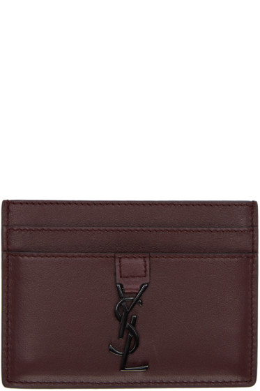 Saint Laurent - Burgundy Monogram Card Holder