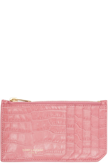 Saint Laurent - Pink Croc-Embossed Fragments Card Holder