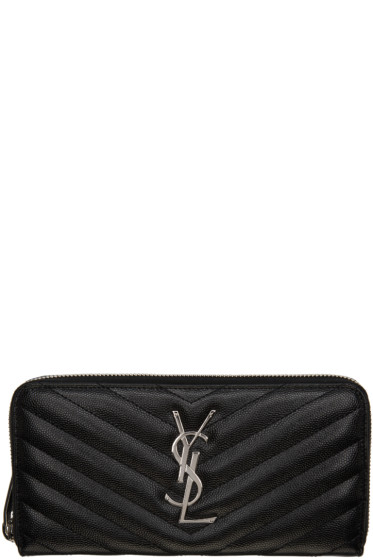 Saint Laurent - Black Quilted Monogram Wallet