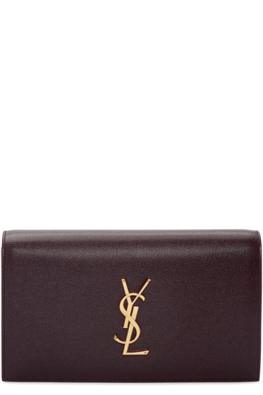 Saint Laurent - Burgundy Kate Monogram Clutch
