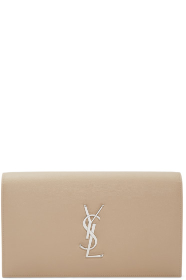 Saint Laurent - Beige Monogram Kate Clutch