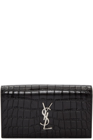 Saint Laurent - Black Croc-Embossed Monogram Kate Clutch