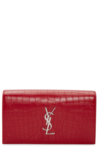 Saint Laurent - Red Croc-Embossed Monogram Kate Clutch