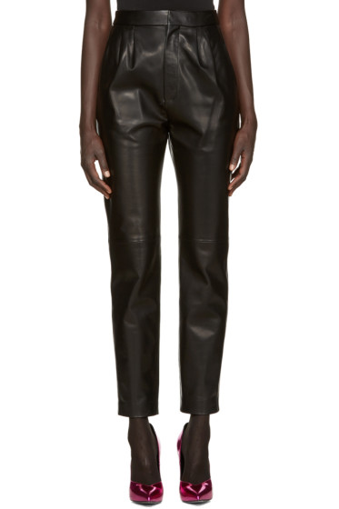 Saint Laurent - Black Lambskin Trousers