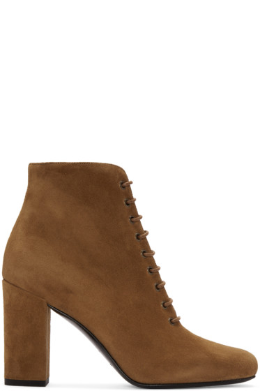 Saint Laurent - Tan Suede Lace-Up Babies Boots