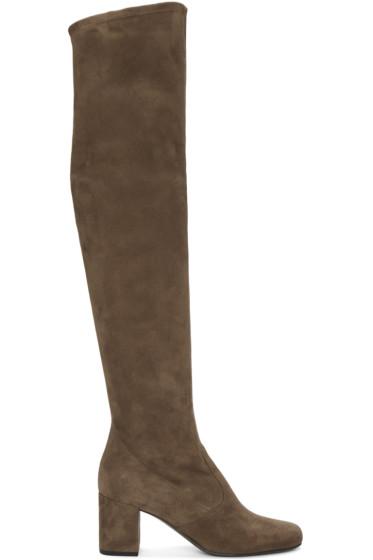 Saint Laurent - Brown Suede Babies Boots