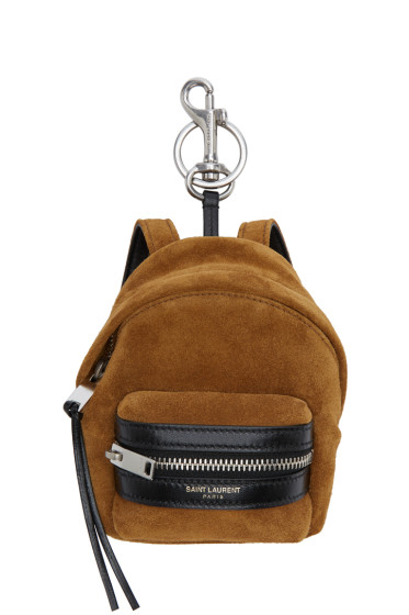 Saint Laurent - Tan Suede Backpack Keychain