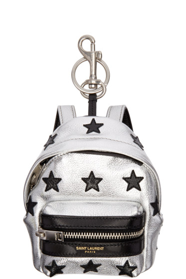 Saint Laurent - Silver Leather Backpack Keychain