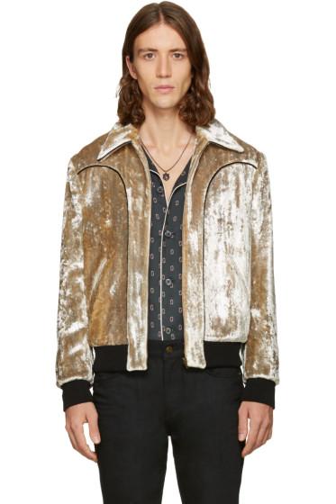 Saint Laurent - Silver Velvet Teddy Bomber Jacket