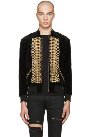 Saint Laurent - Black Velvet Military Teddy Bomber Jacket