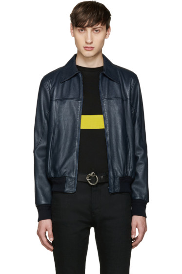 Saint Laurent - Navy Short Leather Jacket