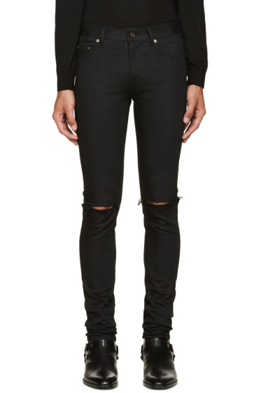 Saint Laurent - Black Original Low Waisted Ripped Skinny Jeans