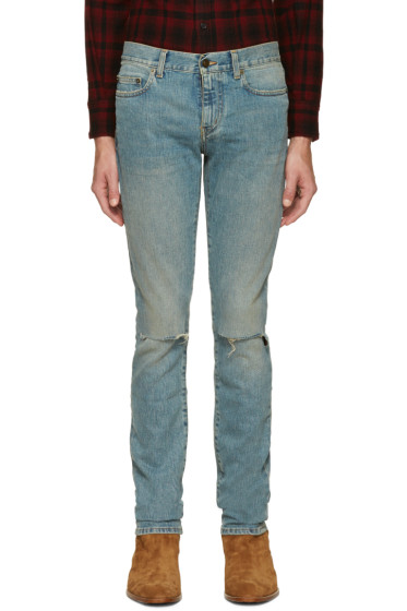 Saint Laurent - Blue Original Low Waisted Ripped Skinny Jeans
